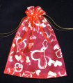 Organza Pouch Printed - Heart Red (L)